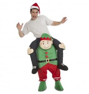 Travestimento adulto Elfo Natale a cavallucio per una serata in maschera