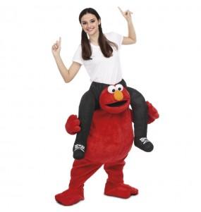 Travestimento adulto Elmo Sesame Street a cavallucio per una serata in maschera
