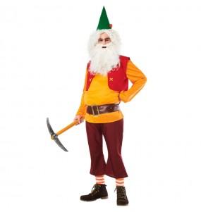 Costume da Nano Biancaneve Arancione per adulto