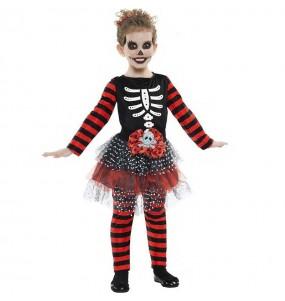 Costume da Scheletro a strisce per bambina