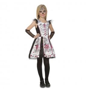 Vestito Scheletro Catrina bianco bambine per una festa ad Halloween