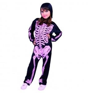 Costume da Scheletro con ossa rosa per bambina