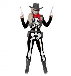 Costume Scheletro Cowgirl donna per una serata ad Halloween