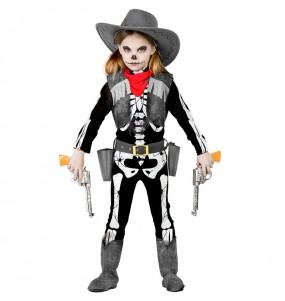 Vestito Scheletro Cowgirl bambine per una festa ad Halloween