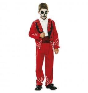 Costume da Scheletro messicano rosso per bambino