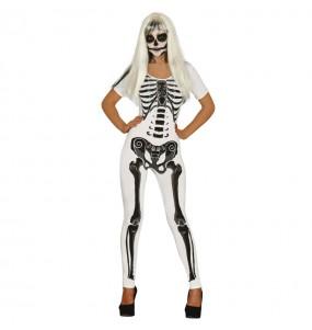 Costume Scheletro bianco donna per una serata ad Halloween