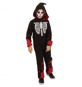 Travestimento Scheletro sanguinante kigurumi bambini per una festa ad Halloween