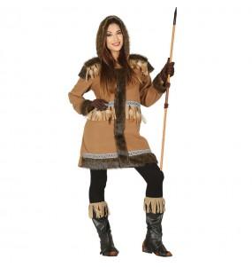 Travestimento Eschimese del Polo Nord donna per divertirsi e fare festa