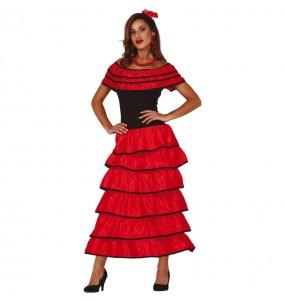 Travestimento Flamenca rossa donna per divertirsi e fare festa