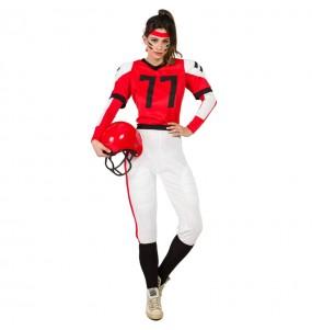 Travestimento Football Americano Rosso donna per divertirsi e fare festa