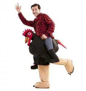 Costume sulle spalle gallo esibizionista per adulti