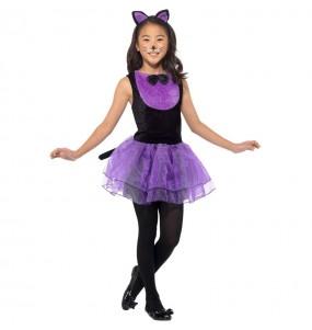 Costume da Gatta viola con tutù per bambina