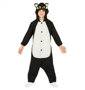 Travestimento Gatto nero kigurumi bambini per una festa ad Halloween