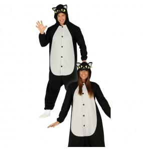 Travestimento Gatto nero kigurumi per adulto adulti per una serata ad Halloween