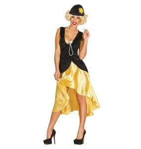 Travestimento anni '20 nero e giallo donna per divertirsi e fare festa
