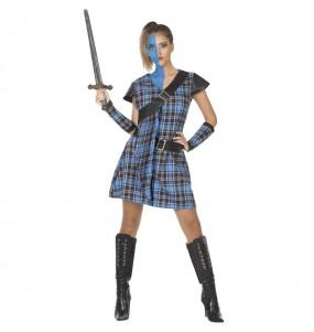Costume da Guerriera scozzese blu per donna