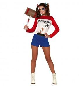 Travestimento Harley Quinn di fumetto donna per divertirsi e fare festa