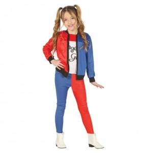 Vestito Harley Quinn Villain bambine per una festa ad Halloween