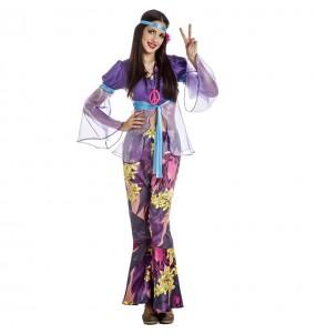 Costume da Hippie viola per donna