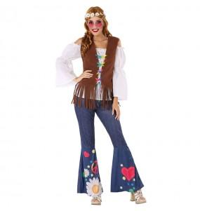 Travestimento Hippie anni Sessanta donna per divertirsi e fare festa