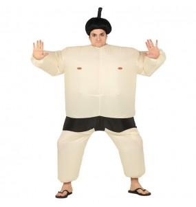 Travestimento Lottatore di sumo gonfiabile adulti per una serata in maschera