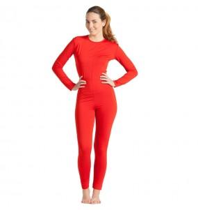 Costume da Body rosso spandex per donna