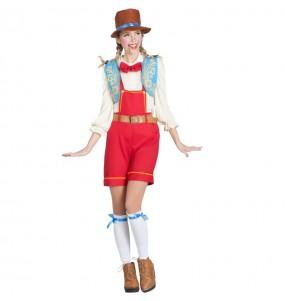 Travestimento Burattino Pinocchio donna per divertirsi e fare festa