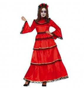 Costume da Catrina rossa Messicana per donna