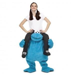 Travestimento adulto Cookie Monster Sesame Street a cavallucio per una serata in maschera