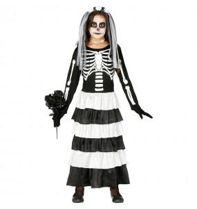 Vestito Sposa scheletro bambine per una festa ad Halloween
