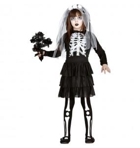 Costume da Sposa scheletro zombie per bambina