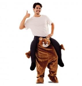 Travestimento adulto Orso Peluche a cavallucio per una serata in maschera