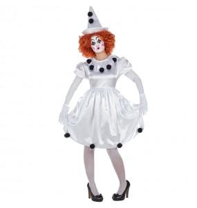 Travestimento Pagliaccia Pierrot donna per divertirsi e fare festa