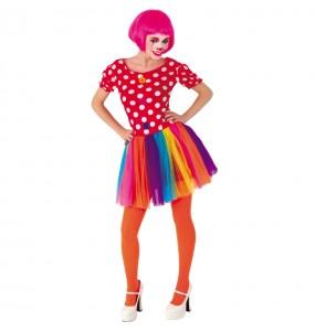 Travestimento Pagliaccia di Carnevale donna per divertirsi e fare festa