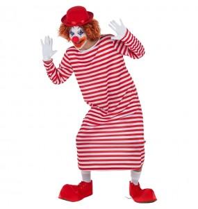 Travestimento Pagliaccio a righe bianco e rosso adulti per una serata in maschera