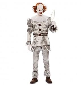 Costume da Pagliaccio diabolico grigio per uomo