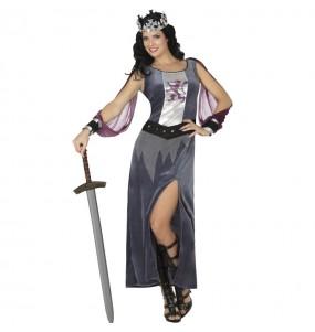 Costume da Regina medievale grigia per donna