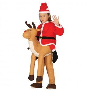 Travestimento Babbo Natale su Renna bambino a cavallucio che più li piace