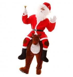 Travestimento adulto Babbo Natale su Renna a cavallucio per una serata in maschera