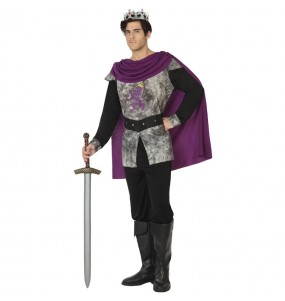 Costume da Re medievale grigio per uomo