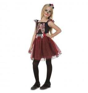 Vestito Scheletro rosso e nero bambine per una festa ad Halloween