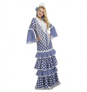Travestimento Flamenca blu donna per divertirsi e fare festa