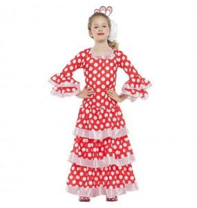 Costume da Flamenco rosso a pois bianchi per bambina