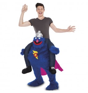 Travestimento adulto Grover Sesame Street a cavallucio per una serata in maschera