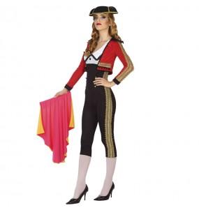 Costume da Torera rosso e nero per donna