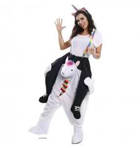 Costume sulle spalle unicorno multicolore per adulti