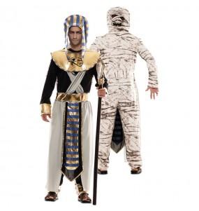 Travestimento Egiziano e da Mummia doppio adulti per una serata in maschera