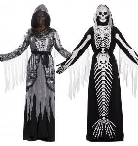 Travestimento Morte e Sirena scheletro doppio donna per divertirsi e fare festa