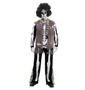 Travestimento Scheletro Hippie adulti per una serata ad Halloween