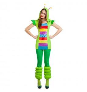 Travestimento Verme Multicolore donna per divertirsi e fare festa